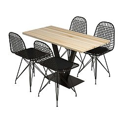 Sun Birch étkezőasztal borovi fenyőfa asztallappal és 4 szék szett