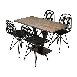 Sun Walnut étkezőasztal borovi fenyőfa asztallappal és 4 szék szett