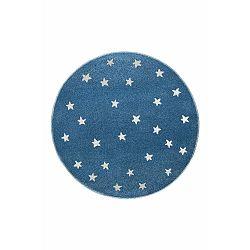 Azure kék, kerek szőnyeg csillag mintával, 100 x 100 cm - KICOTI