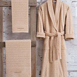 Bathrobe Set Lady női barna fürdőköntös L méretben és törölköző szett