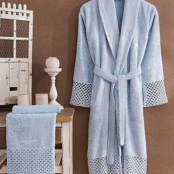 Bathrobe Set Lady női világoskék fürdőköntös S/M méretben és törölköző szett