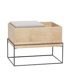 Bench tölgyfa pad fém lábbal és párnával - Hübsch