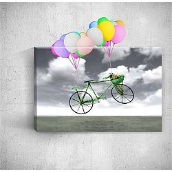 Bike With Balloons 3D fali kép, 40 x 60 cm - Mosticx