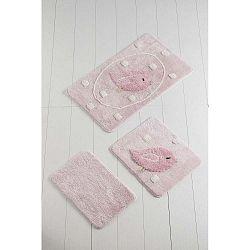 Birdie világos rózsaszín fürdőszobaszőnyeg, 3 db