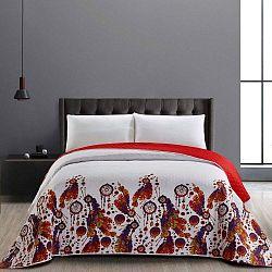 Boho kétoldalas mikroszálas piros ágytakaró, 240 x 260 cm - DecoKing