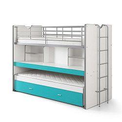 Bonny fehér-türkizkék emeletes ágy polcokkal, 220 x 100 cm - Vipack