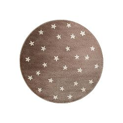 Brown Stars barna, kerek szőnyeg csillag mintával, 133 x 133 cm - KICOTI
