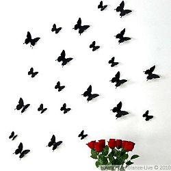Butterflies fekete 3D hatású 12 darabos falmatrica szett - Ambiance