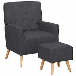Candy sötétszürke fotel lábtartóval - Støraa