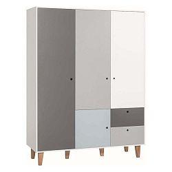 Concept fehér-szürke négyajtós ruhásszekrény kék elemmel - Vox