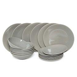 Edge Grey 18 darabos kerámia tányérkészlet - Kasanova