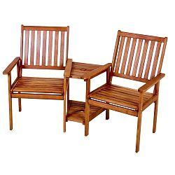 Edison kétszemélyes kerti székszett, eukaliptuszfából - ADDU
