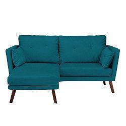 Elena sötéttürkiz háromszemélyes kanapé, fekvőfotellel a bal oldalon - Mazzini Sofas