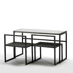 Étkezőasztal márvány asztallappal, 2 fekete székkel - Thai Natura