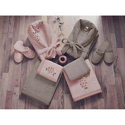 Family Bath női és férfi fürdőszobai textília szett, bézs és rózsaszín színben