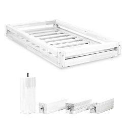 Fehér ágy alatti fiók és 4 db-os ágymagasító láb szett, 90 x 180 cm-es ágyhoz - Benlemi
