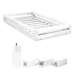 Fehér ágy alatti fiók és 4 db-os ágymagasító láb szett, 90 x 200 cm-es ágyhoz - Benlemi