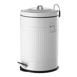 Fehér pedálos fém hulladékgyűjtő, 20 l - Unimasa