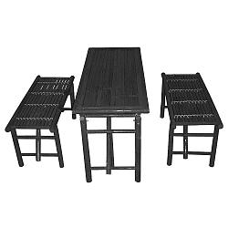 Fekete bambusz asztal és 2 részes pad szett - Leitmotiv