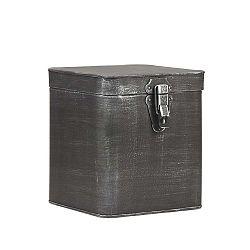 Fekete fém tárolóedény, magassága 21 cm - LABEL51