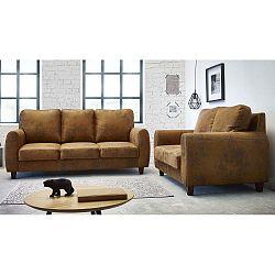Felicita barna háromszemélyes és kétszemélyes kanapé szett - Bobochic Paris
