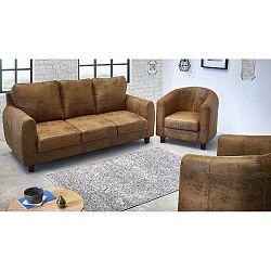 Felicita barna háromszemélyes kanapé 2 darab fotellel - Bobochic Paris
