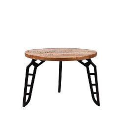 Flintstone dohányzóasztal mangófa lappal, ⌀ 60 cm - LABEL51