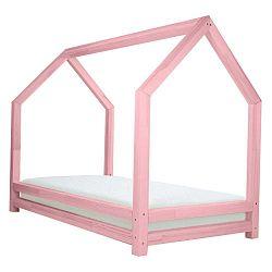 Funny rózsaszín lakkozott lucfenyő gyerekágy, 90 x 160 cm - Benlemi