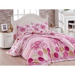 Gardenias rózsaszín ranforce pamut egyszemélyes ágyneműhuzat garnitúra, 160 x 220 cm