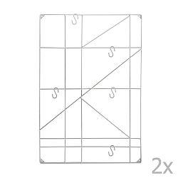 Geometric fehér fali konzol akasztókkal, 2 db - Versa