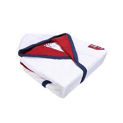 Golfie fehér fürdőköpeny piros-kék díszítéssel, méret: M