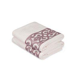 Grace pink mintás fehér kéztörlő szett, 2 darabos