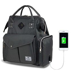 HAPPY MOM Baby Care Backpack antracitszürke hátizsák anyukáknak USB csatlakozóval - My Valice