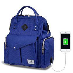 HAPPY MOM Baby Care Backpack kék hátizsák anyukáknak USB csatlakozóval - My Valice