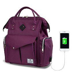 HAPPY MOM Baby Care Backpack lila hátizsák anyukáknak USB csatlakozóval - My Valice