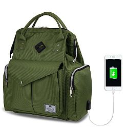 HAPPY MOM Baby Care Backpack zöld hátizsák anyukáknak USB csatlakozóval - My Valice