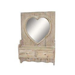 Heart fából készült 2 fiókos falitükör - Antic Line