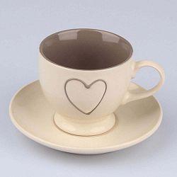 Heart Light kézzel díszített bézs kerámia csésze csészealjjal, 200 ml - Dakls
