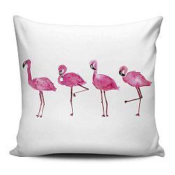 Home de Bleu Painted Flamingos rózsaszín-fehér díszpárna, 43 x 43cm - Kate Louise