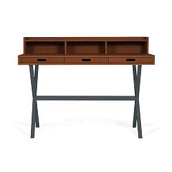 Hyppolite diófa íróasztal szürke fém lábakkal, 120 x 55 cm - HARTÔ