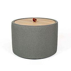 Ibisco szürkészöld rakodóasztal, levehető tölgyfa asztallappal, ⌀ 56 cm - Askala
