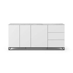 Join fehér komód fehér márványlappal, 3 fiókkal, 3 ajtóval és fekete lábakkal - TemaHome