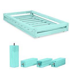 Kék ágy alatti fiók és 4 db-os ágymagasító láb szett, 80 x 200 cm-es ágyhoz - Benlemi