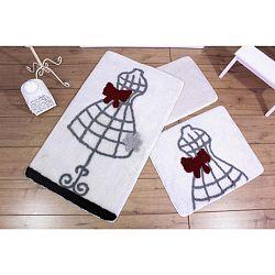Knit Knot 3 darabos fehér fürdőszobaszőnyeg szett ruha motívummal