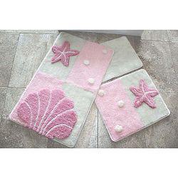 Knit Knot 3 darabos világos-rózsaszín fürdőszobai kilépő szett tengeri motívummal