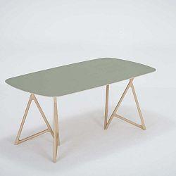 Koza tömör tölgyfa étkezőasztal zöld asztallappal, 180 x 90 cm - Gazzda