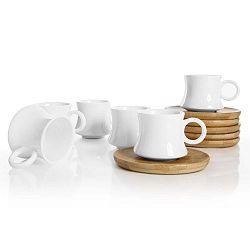Largi 6 porcelán csésze és bambusz csészealjak készlete - Bambum
