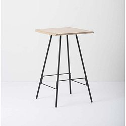 Leina bár asztal tömör tölgyfa ülőkével és fekete lábakkal - Gazzda