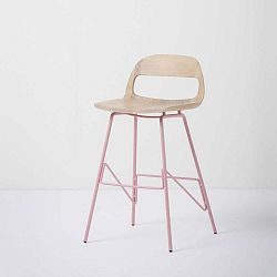Leina bárszék tömör tölgyfa ülőkével és rózsaszín lábakkal, magassága 84 cm - Gazzda