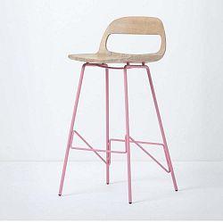 Leina bárszék tömör tölgyfa ülőkével és rózsaszín lábakkal, magassága 94 cm - Gazzda